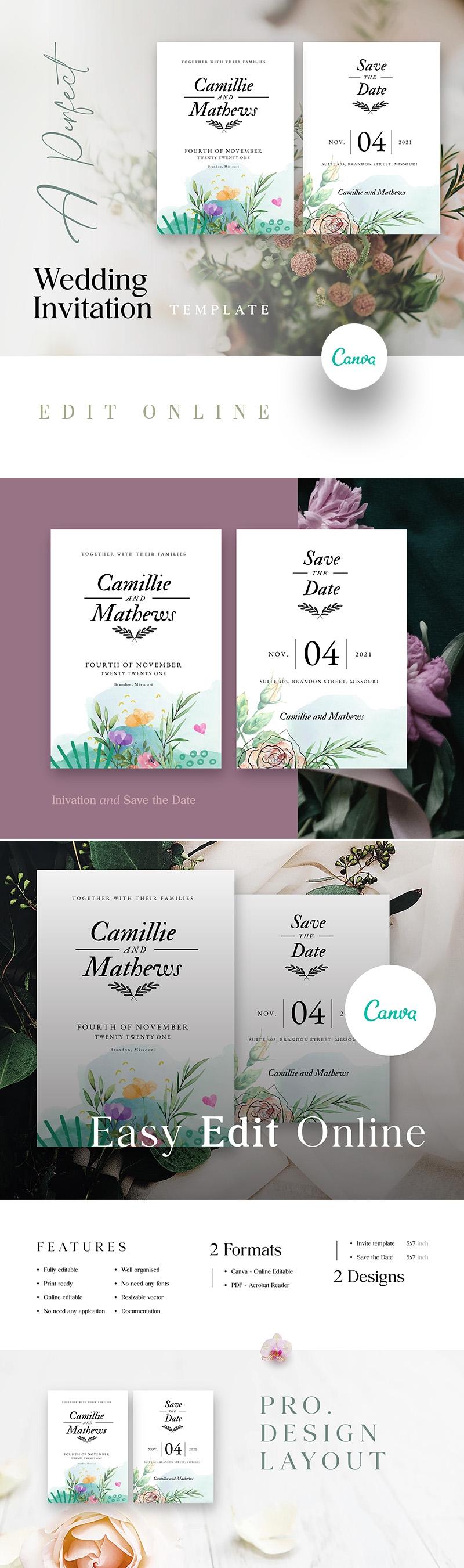 Editable Minimalist Wedding Invite