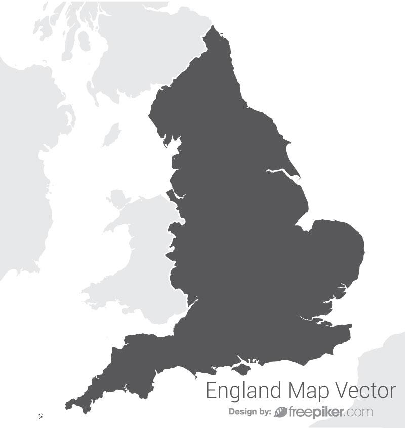 England Map By Dark Vector Design