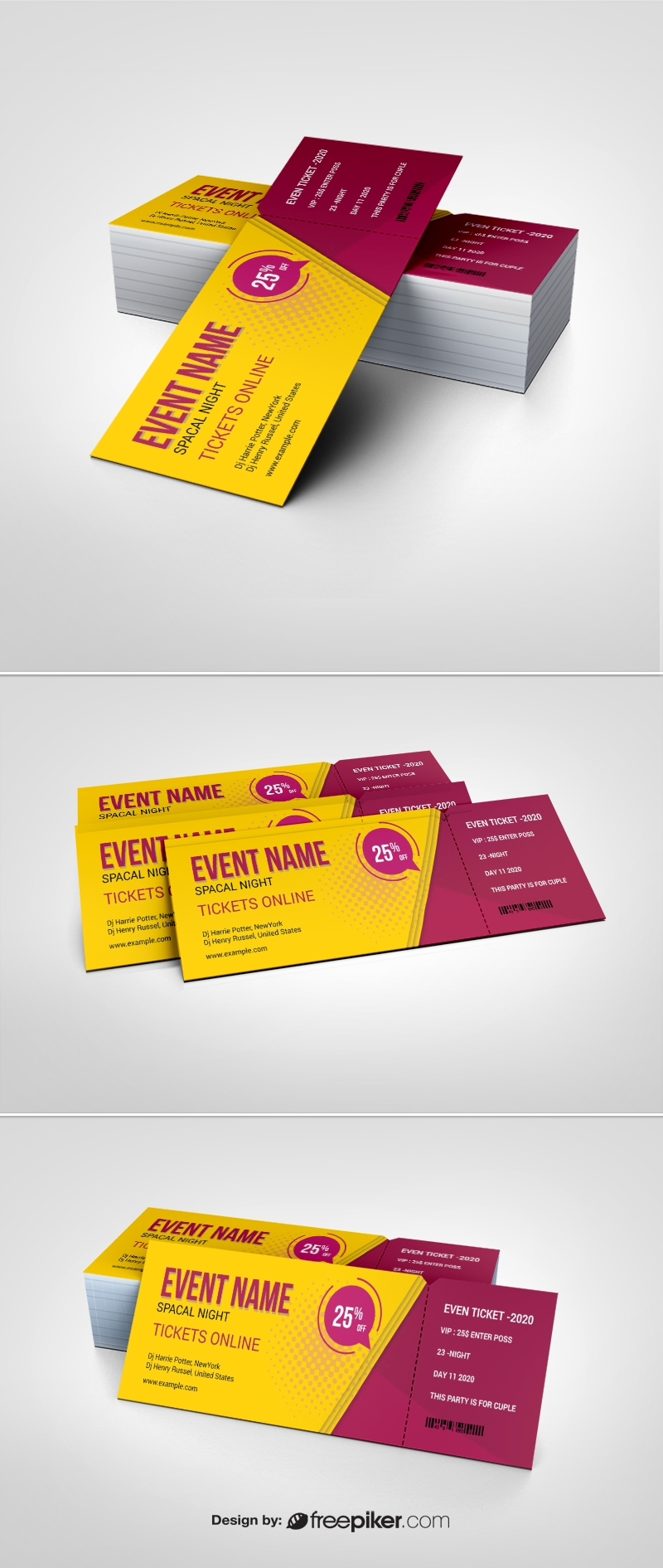 Event Ticket With Yellow And Red Accent