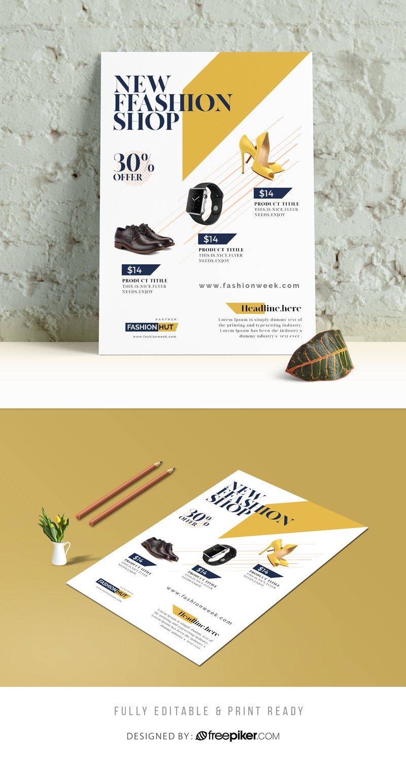 Fashion Shop Flyer With Yellow Accent