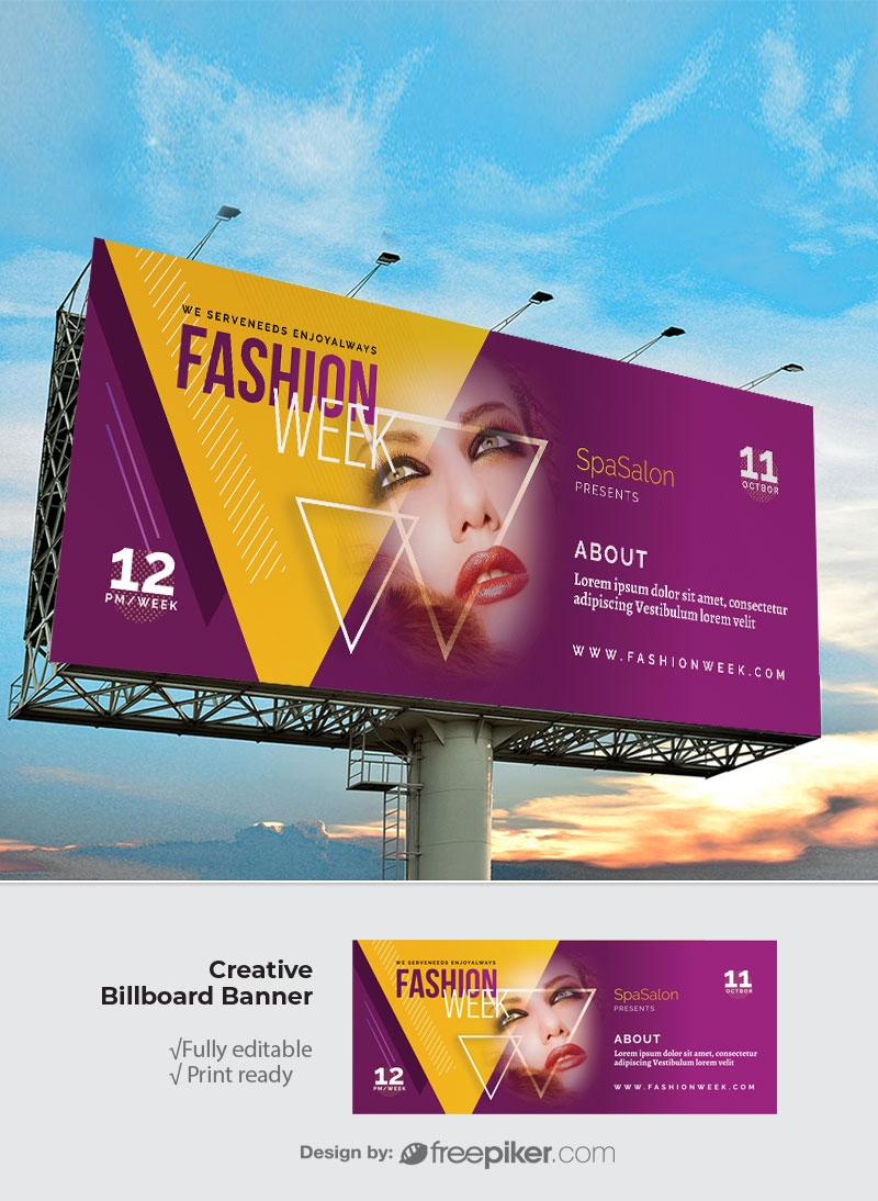 Fashion Week Billboard Sinage With Triangle