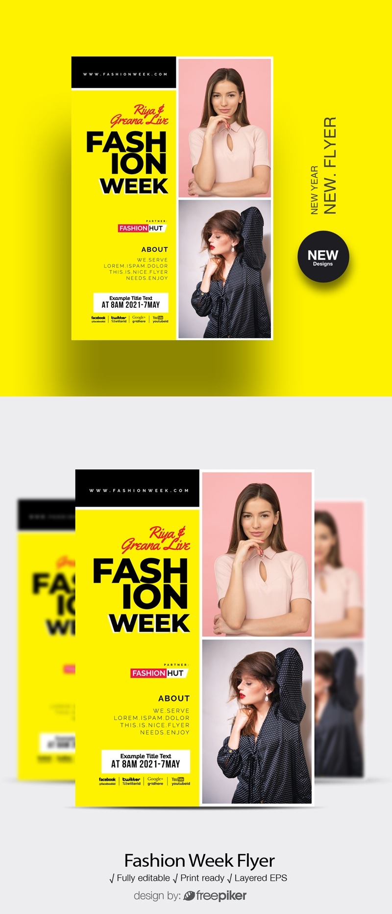 Fashion Week Flyer Template With Yellow Accent