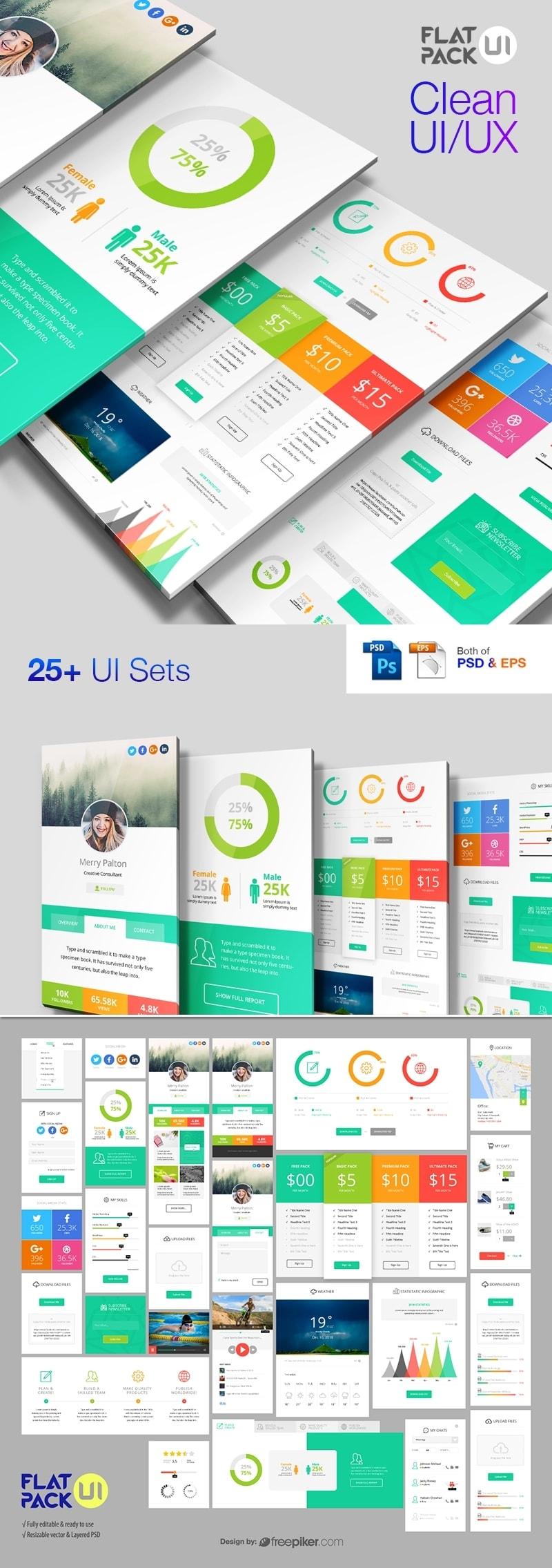 Flat UI Kit PSD & Vector Pack