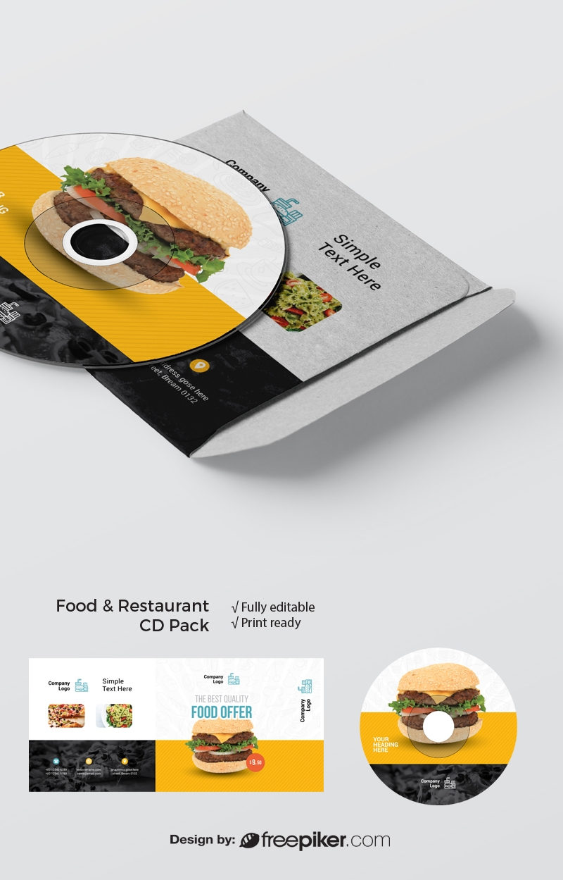 Food & Restaurant CD Pack With Yellow Black Accent