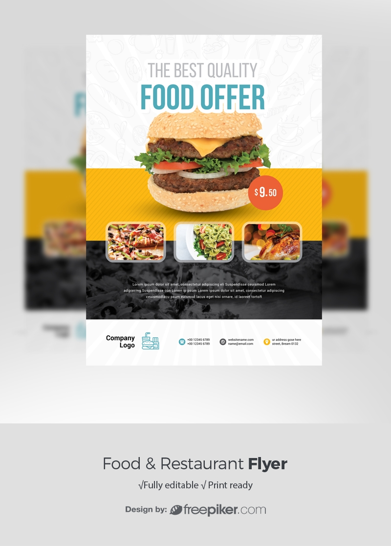 Food & Restaurant Flyer With Yellow Black Accent