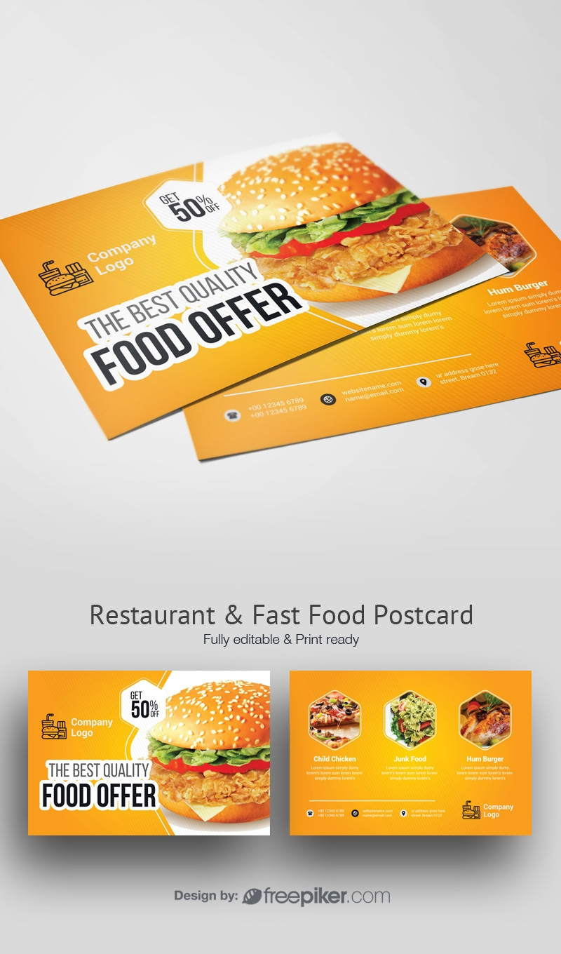 Foods and Restaurant Post Card With Yellow Accent