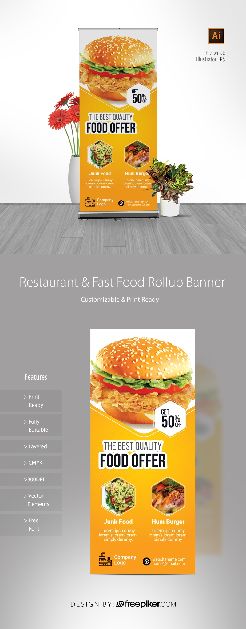 Foods and Restaurant Rollup Banner With Yellow Accent
