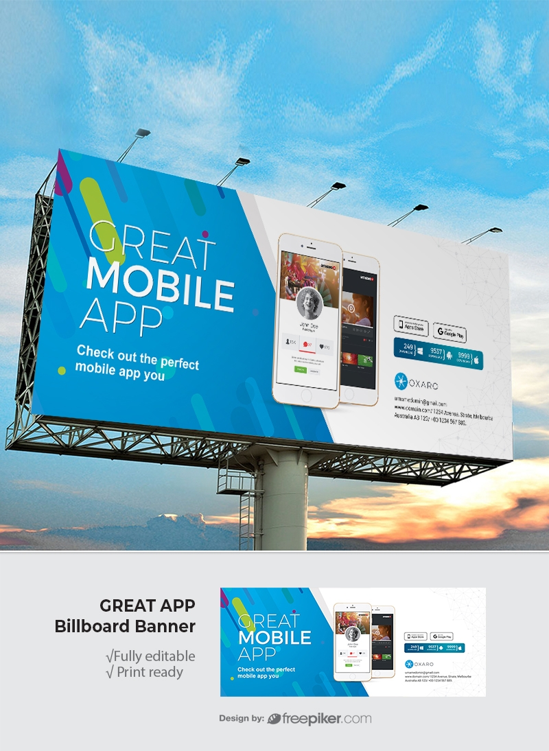 Freepiker | great mobileapp billboard signage