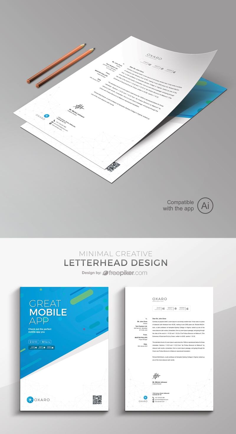 Freepiker Great Mobileapp Letterhead Template