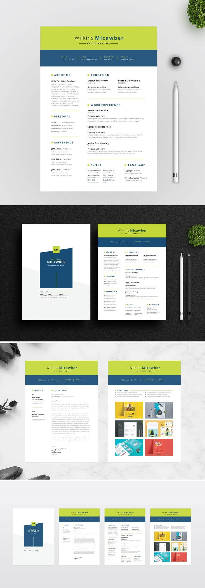 Green Nevy Blue Resume / CV With Green Topbar