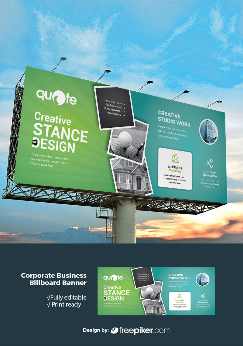 Green/Paste Billboard Banner With Boxs