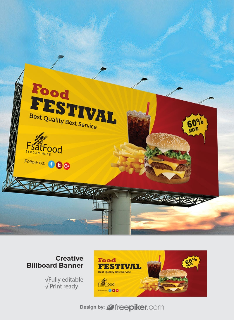 Hamburger Fast Food Billboard Sinage With Red And Yellow