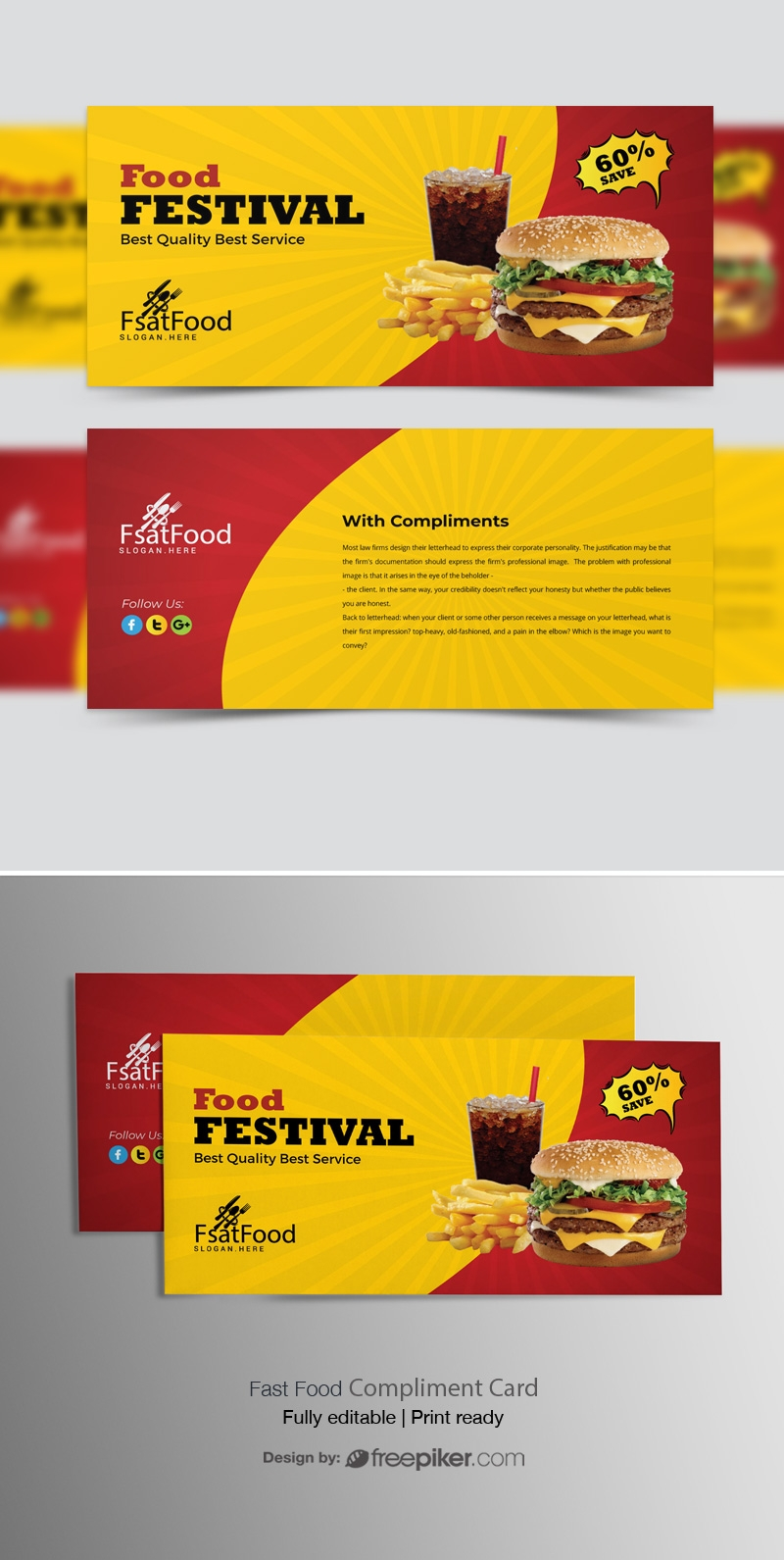 Hamburger Fast Food Compliment Card Template