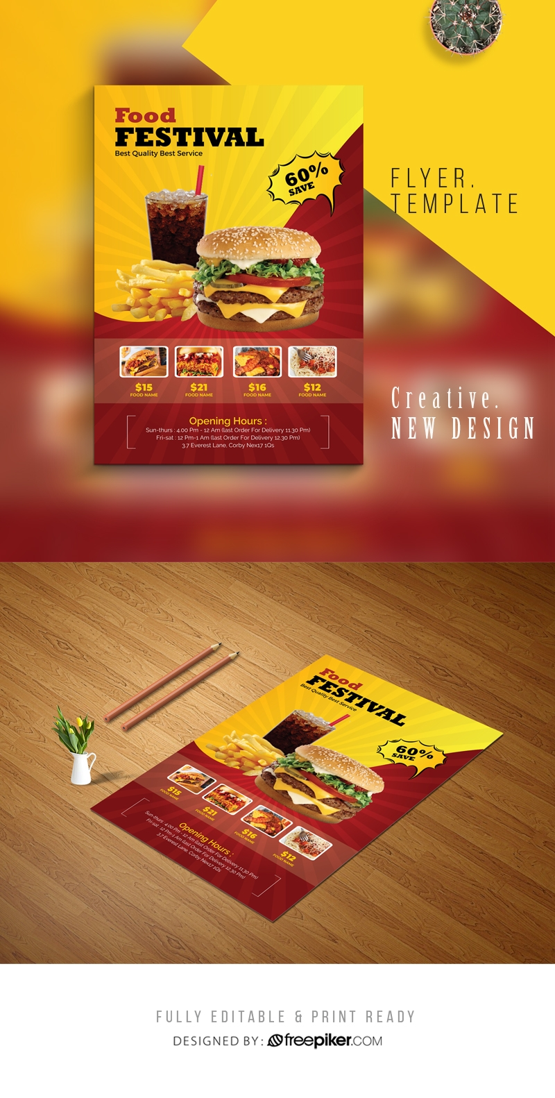 Hamburger Fast Food Flyer With Red And Yellow Accent