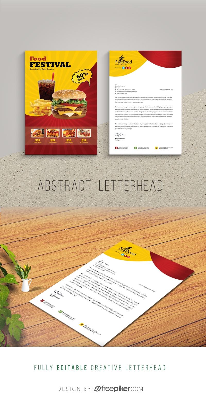 Hamburger Fast Food Letterhed Template