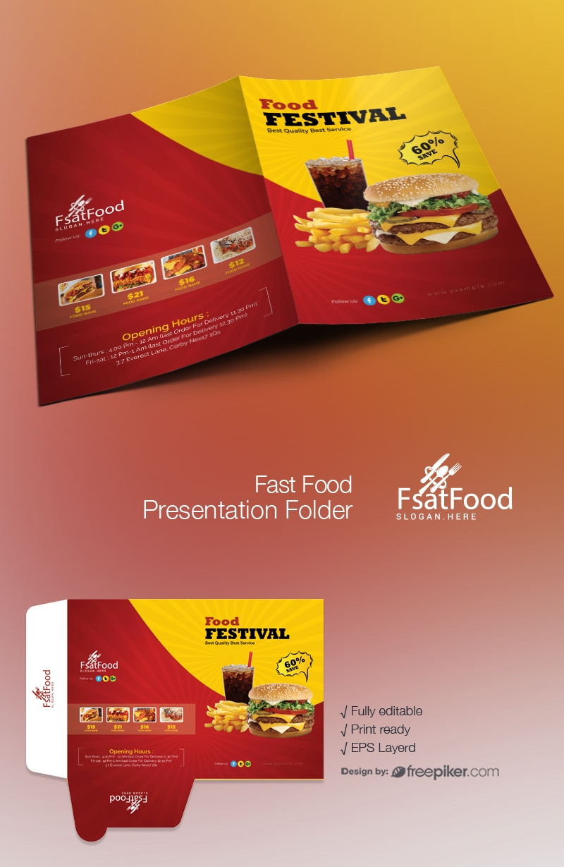 Hamburger Fast Food Presentation Folder