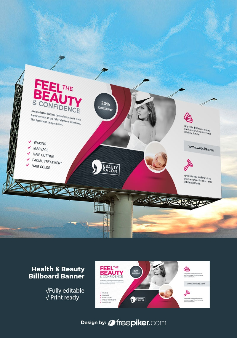 Freepiker Health Beauty Billboard Banner With Black Red Accent