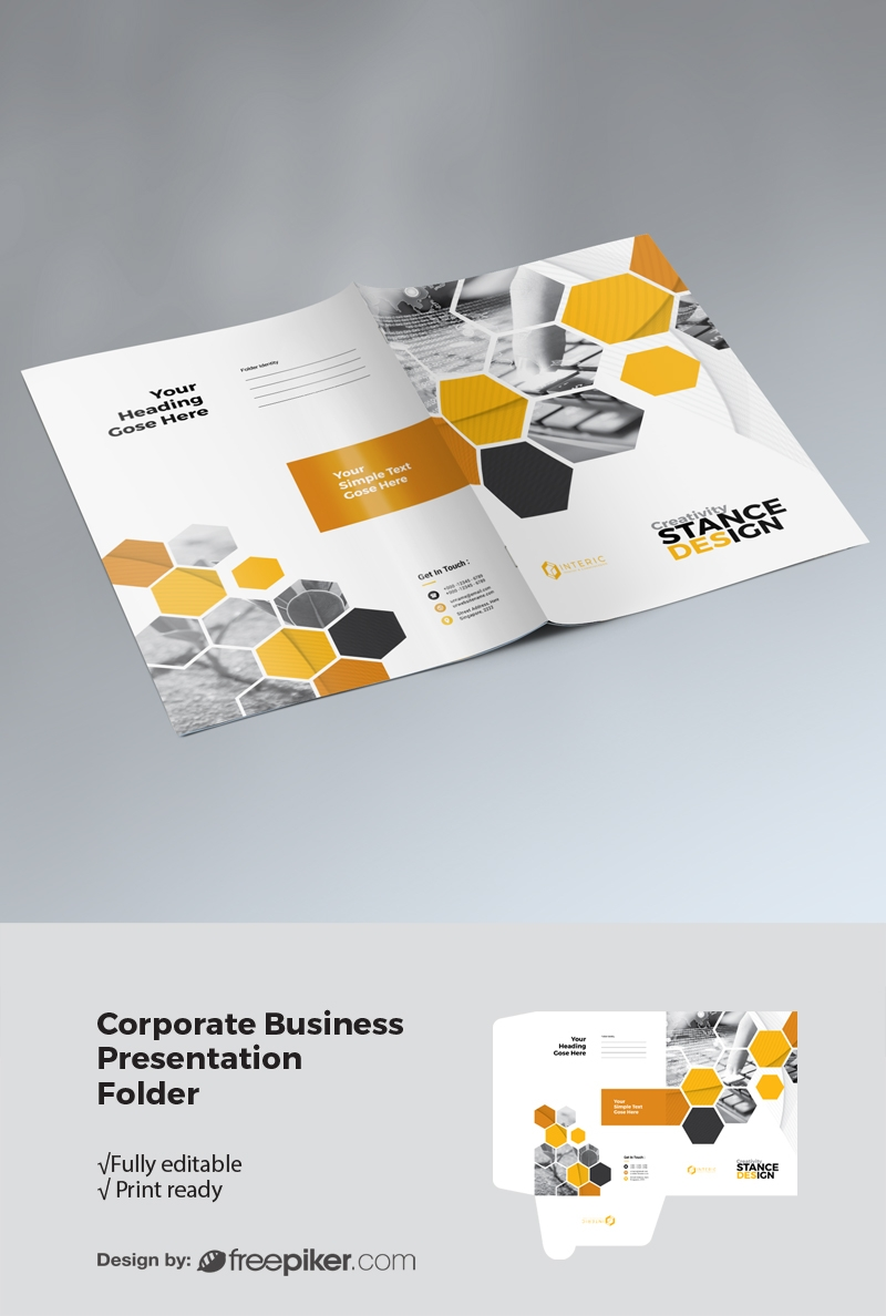 Hexagon Business Presentation Folder With Yellow Accent