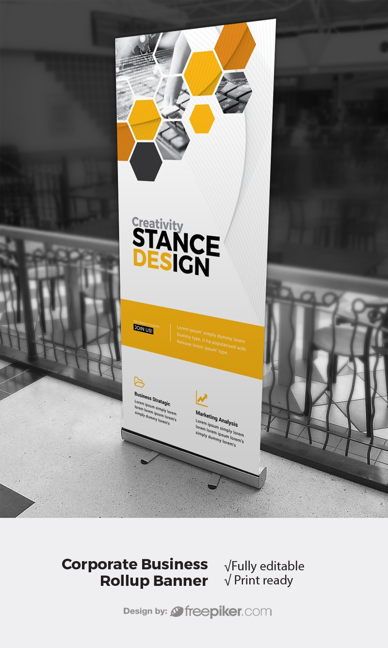 Hexagon Rollup Banner With Orange Accent