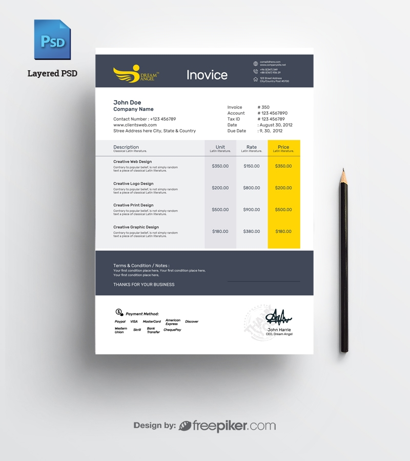 Freepiker Invoice Psd Template Free Download