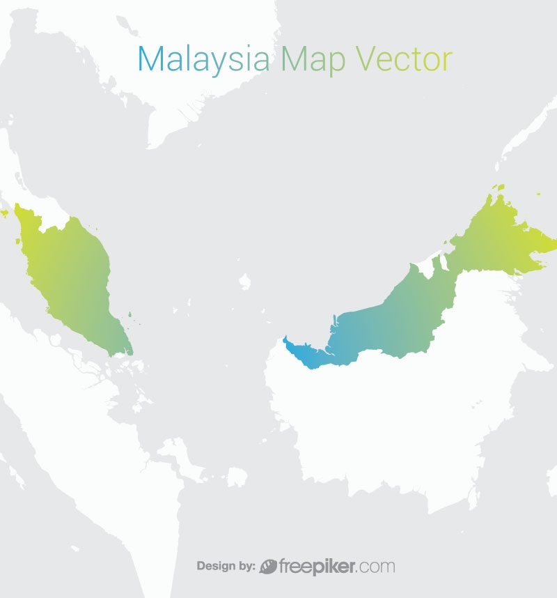 Malaysia Map By Gradient Color Background