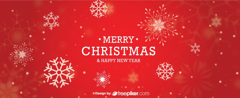 Merry Christmas Vector Banner with Red Color