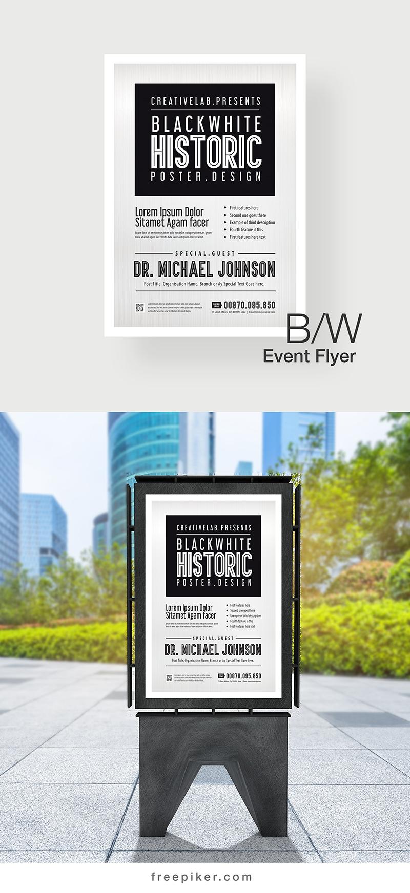 Minimal Black-White Event Poster