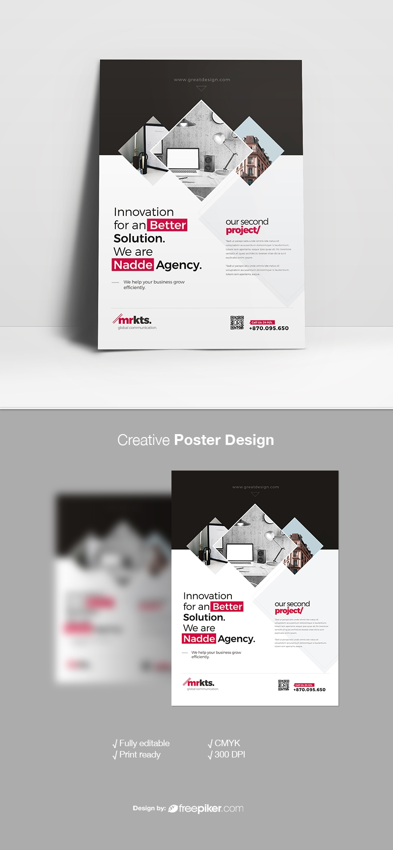 Minimal Business Flyer With Black  Red Accent