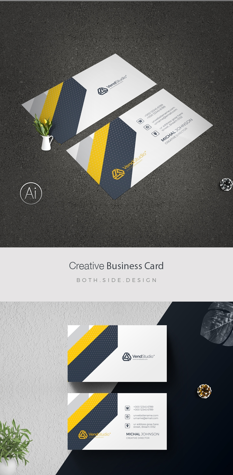 Minimal BusinessCard With Black Yellow Accent