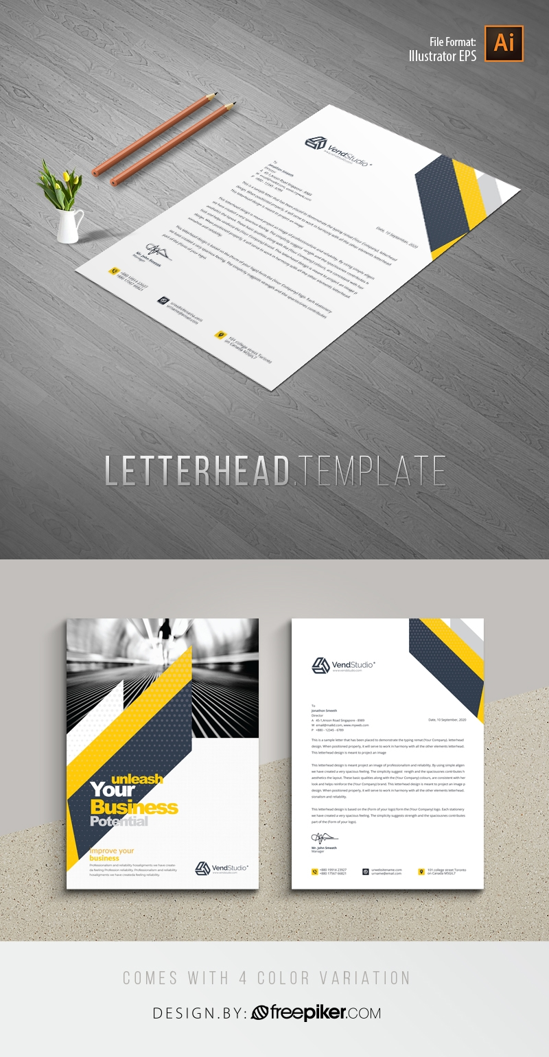 Minimal Creative Letterhed With Yellow Black