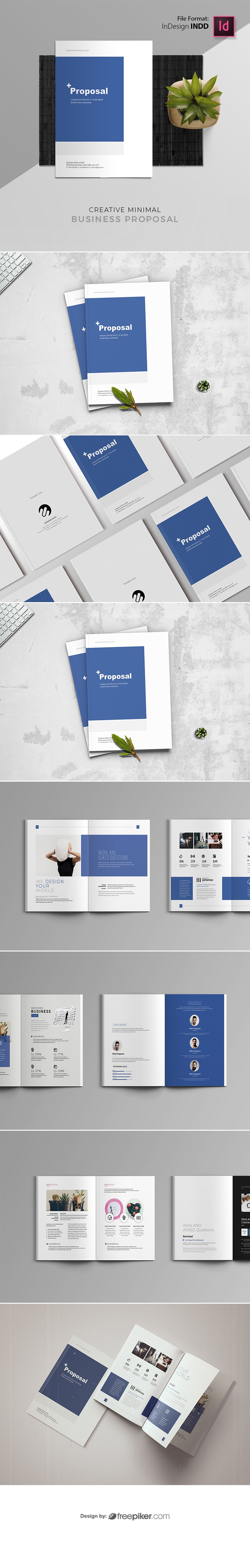 Minimal Creative Proposal Template With Blue