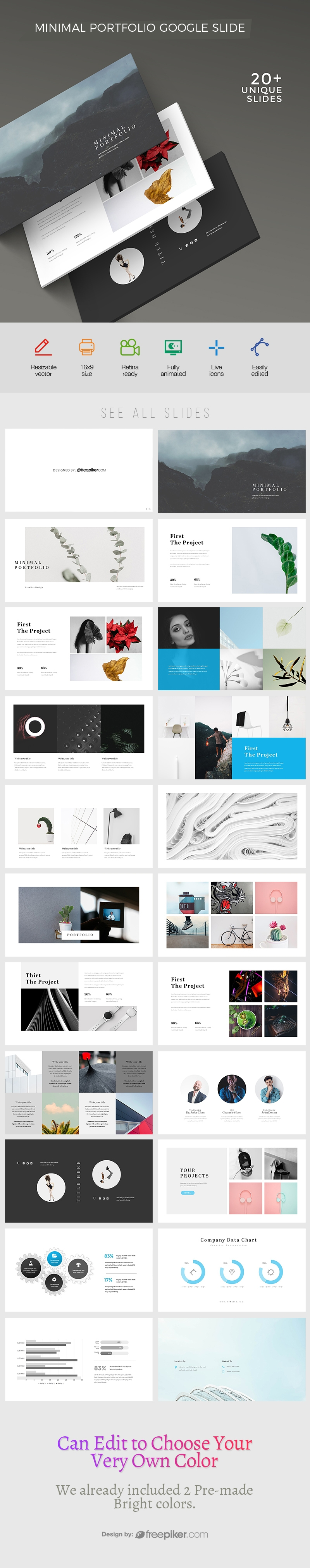 freepiker minimal portfolio google slide template. Black Bedroom Furniture Sets. Home Design Ideas