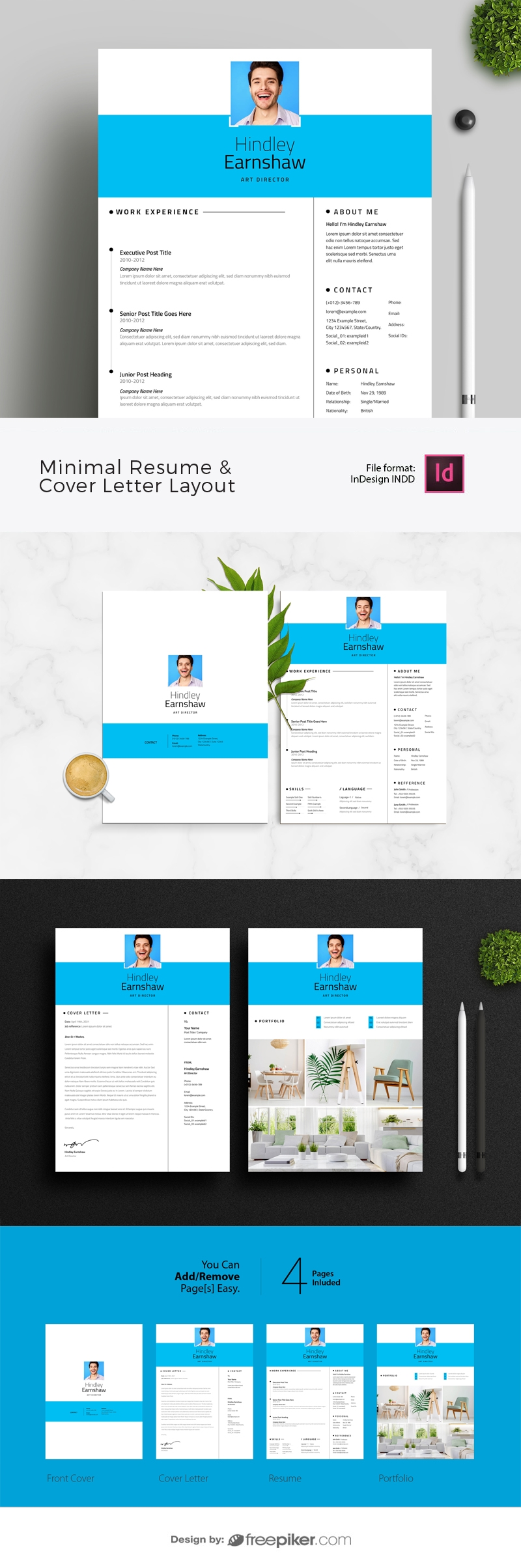 Minimal Resume & Cover Letter Layout with Cyan Elements