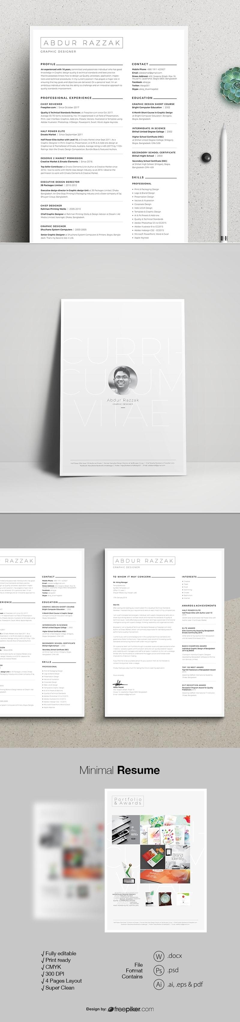 Freepiker | minimal resume with microsoft word & photoshop