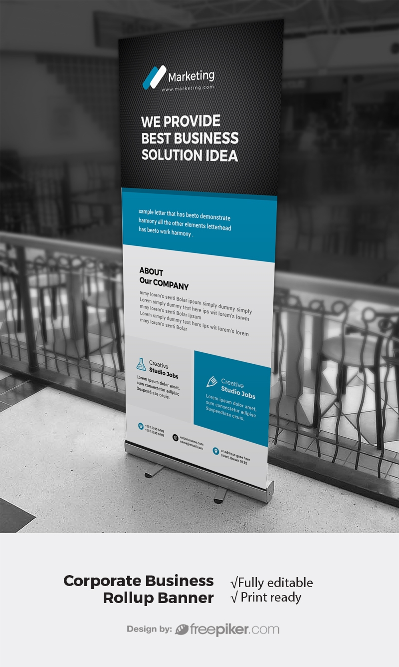 Minimal Rollup Banner With Black / Blue Accent