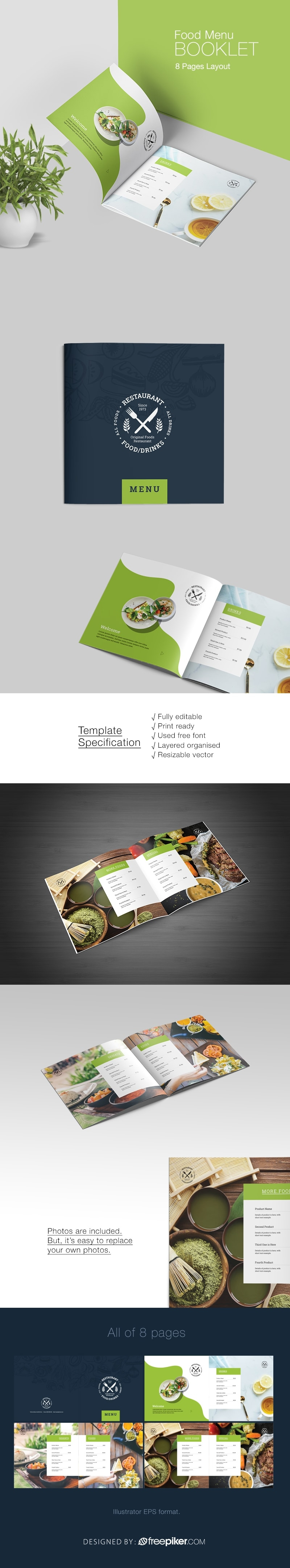 Minimalist Food Menu Booklet