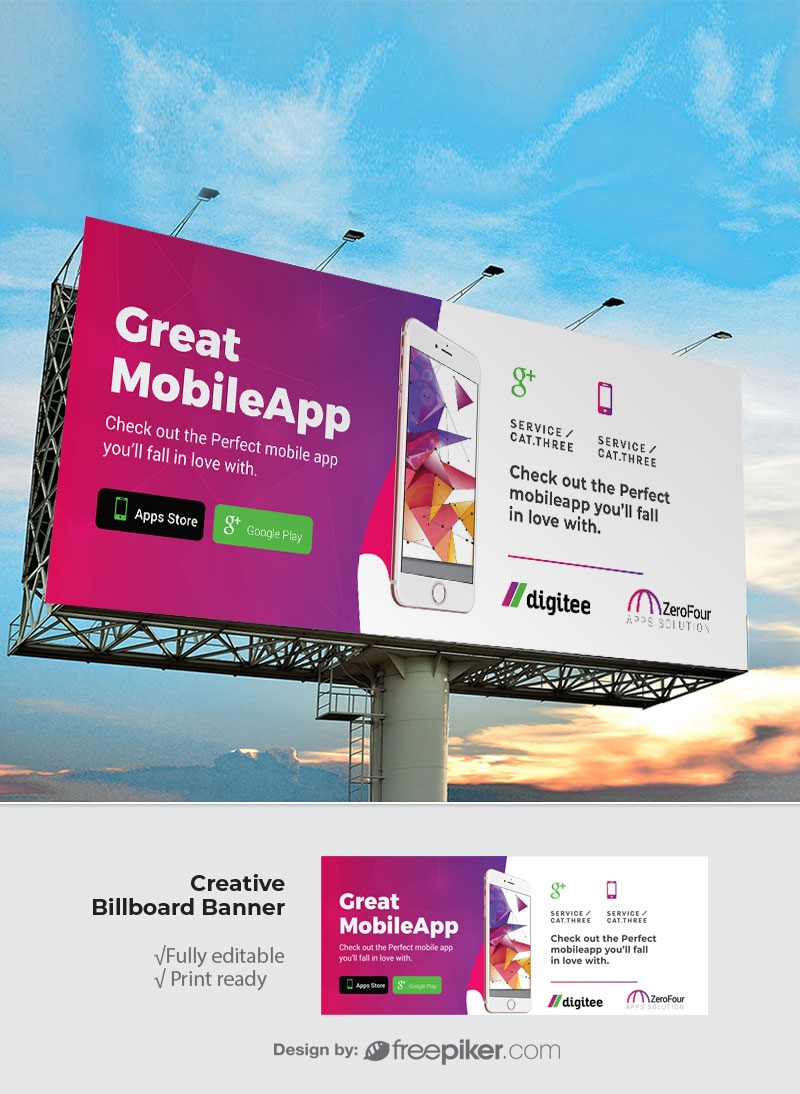 Mobile App Billboard Sinage With Magenta Accent