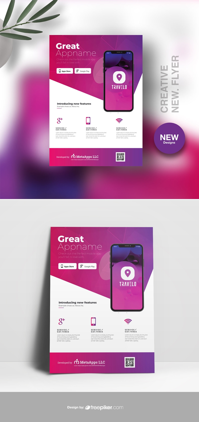 Mobile App Flyer With Purple Accent