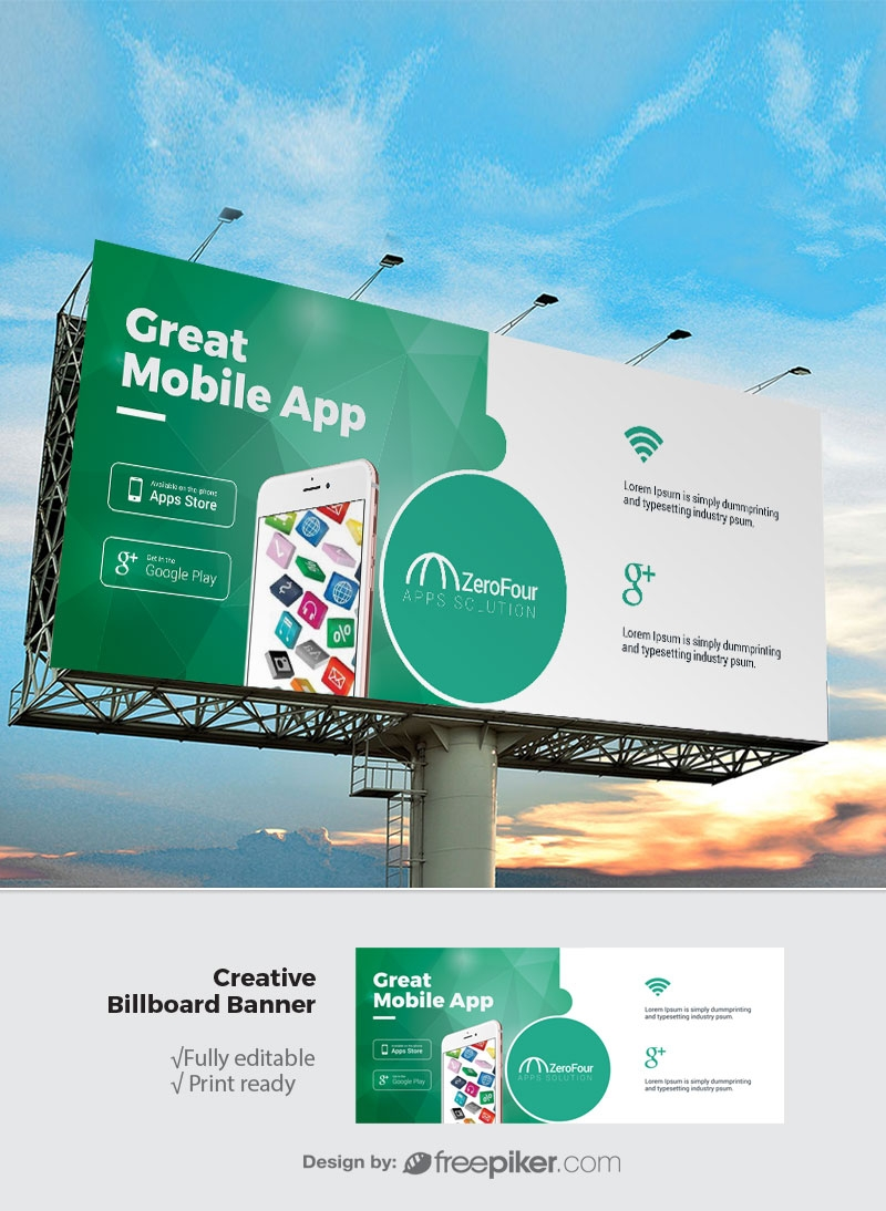Freepiker | mobile apps billboard sinage