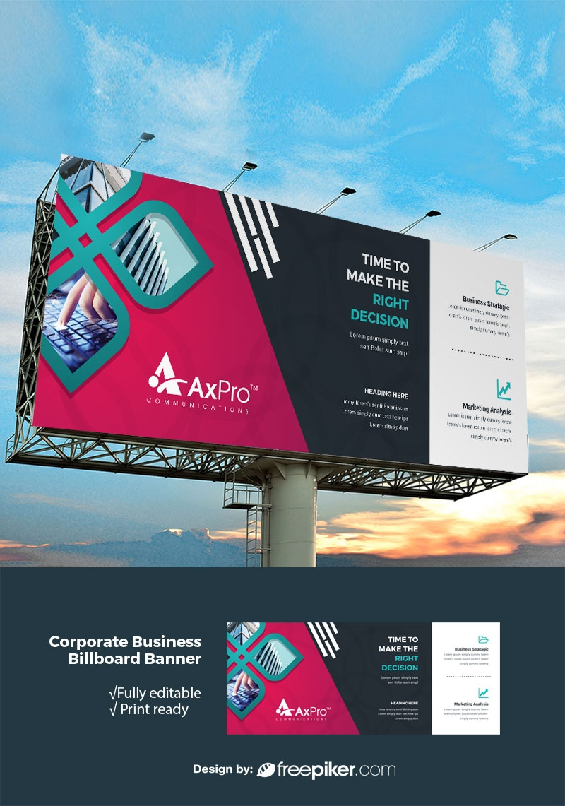 Modern Billboard Banner With Red Black Accent
