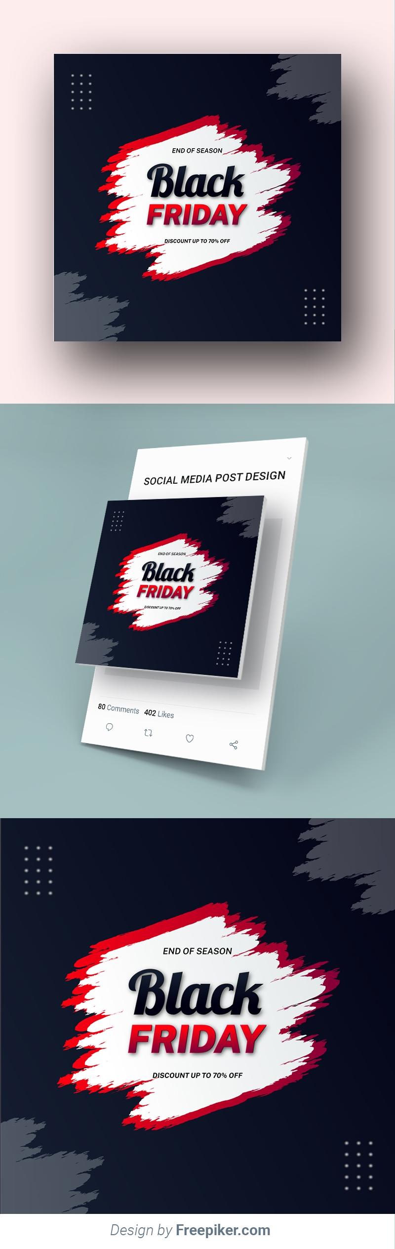 Modern Brush Effect Black Friday Social Media Banner