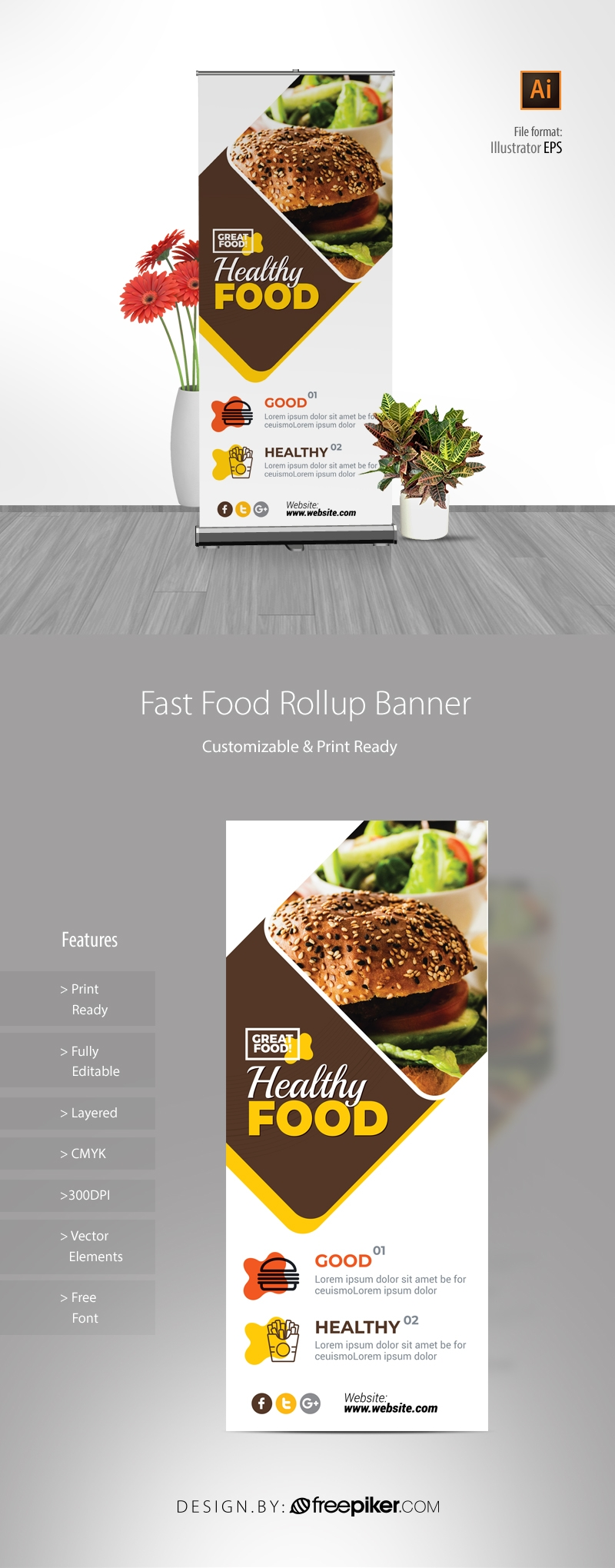 Modern Fast Food Restaurant Rollup Banner