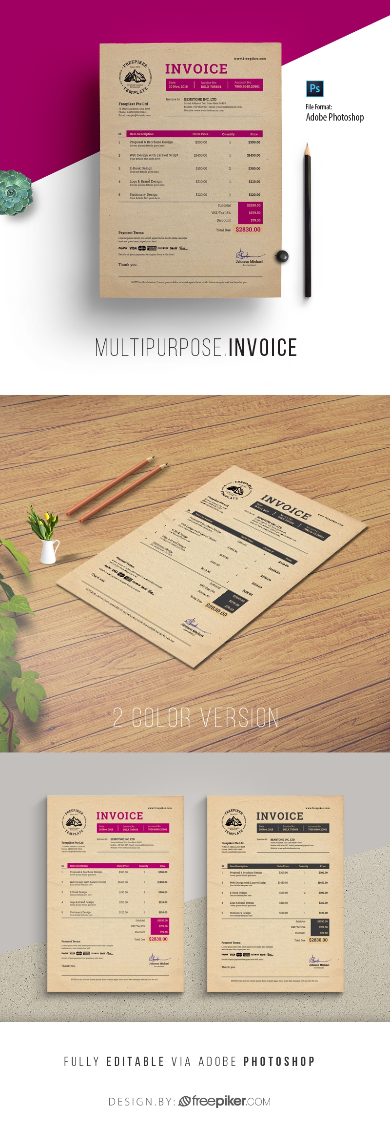 Multipurpose Creative Retro PSD Invoice