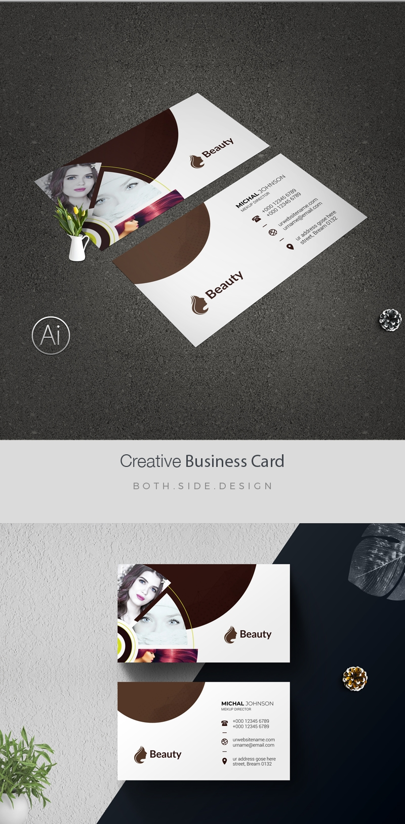 Natural Beauty Spa Business Card Template