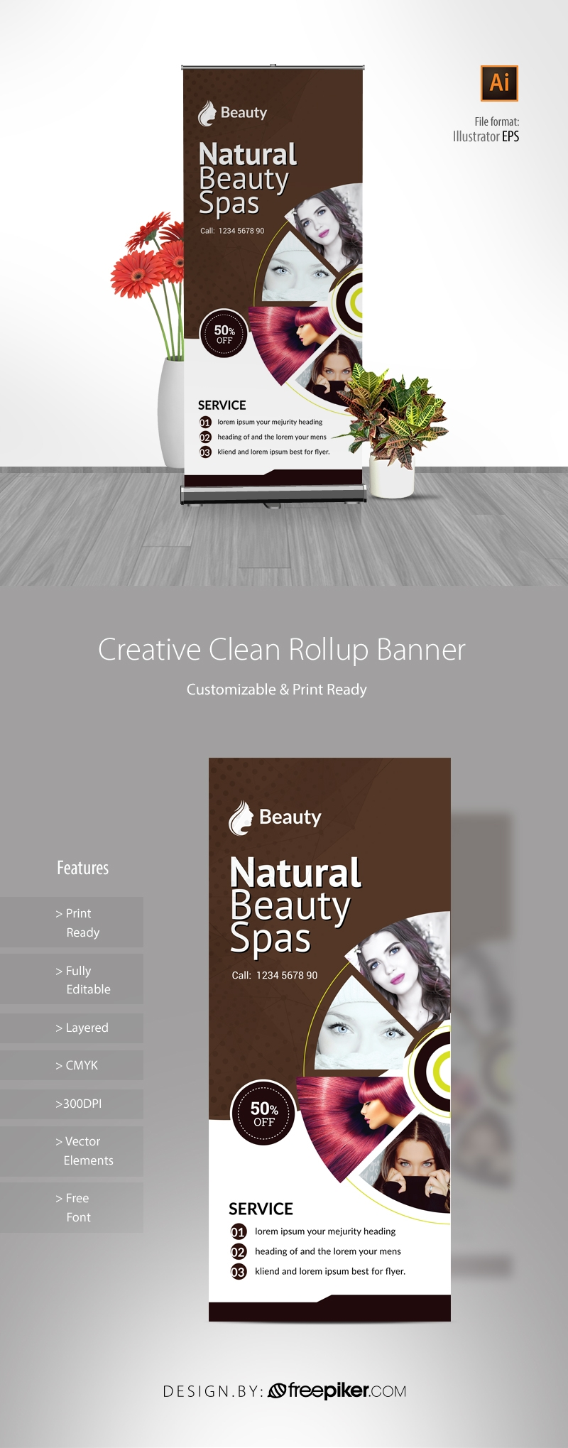 Natural Beauty Spa Rollup Banner