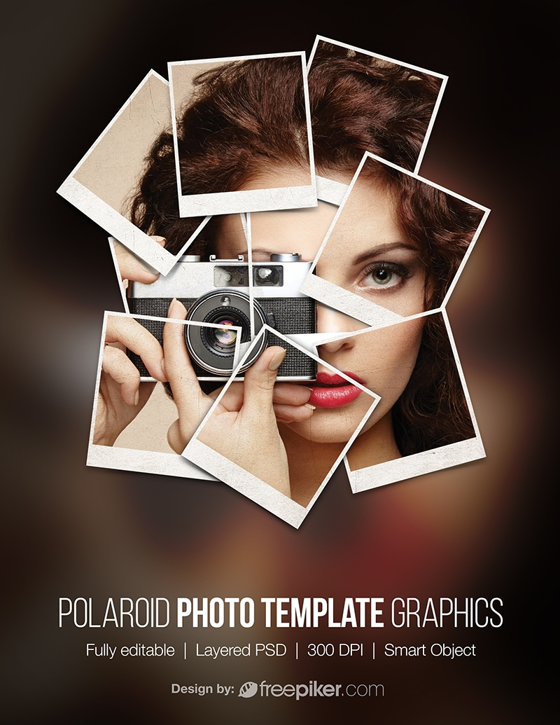 Polaroid Photoframe Photo Template Film Mockup Graphics