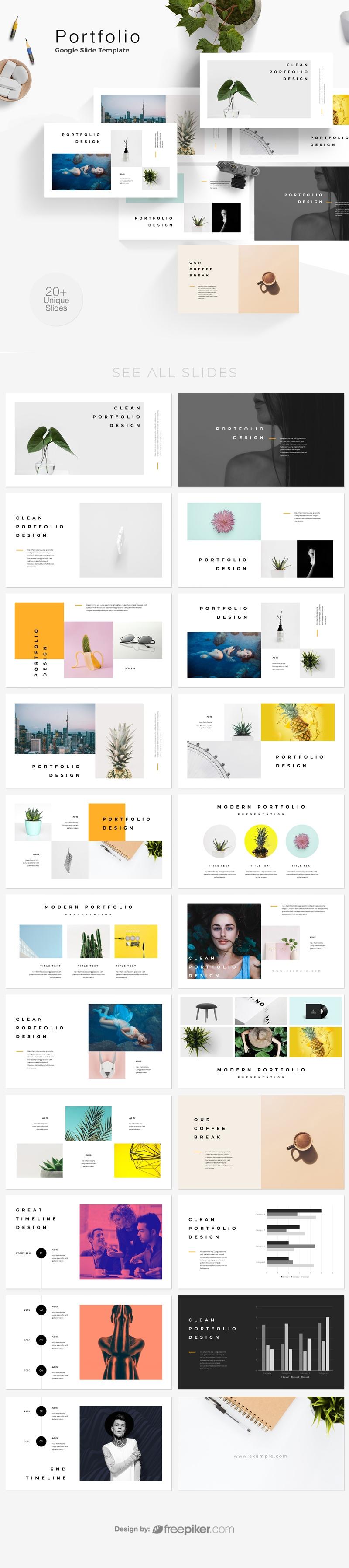 freepiker portfolio google slide template. Black Bedroom Furniture Sets. Home Design Ideas