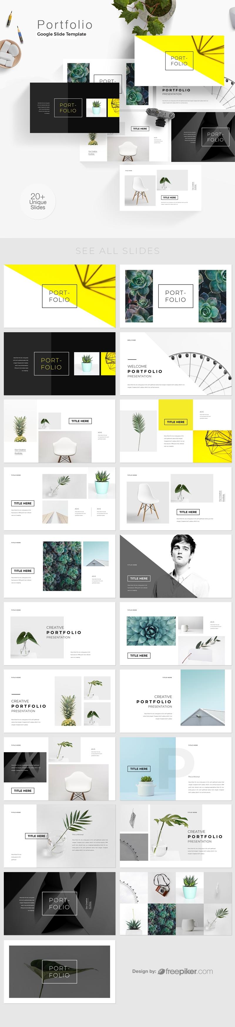 freepiker portfolio google slide template 2. Black Bedroom Furniture Sets. Home Design Ideas