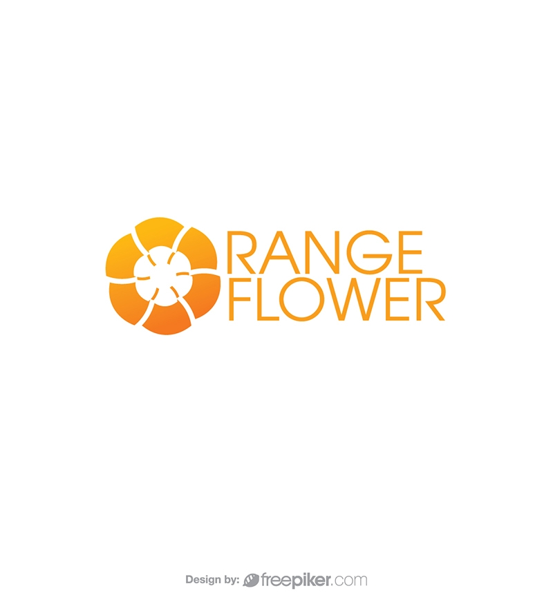 Minimal Orange Flower Logo