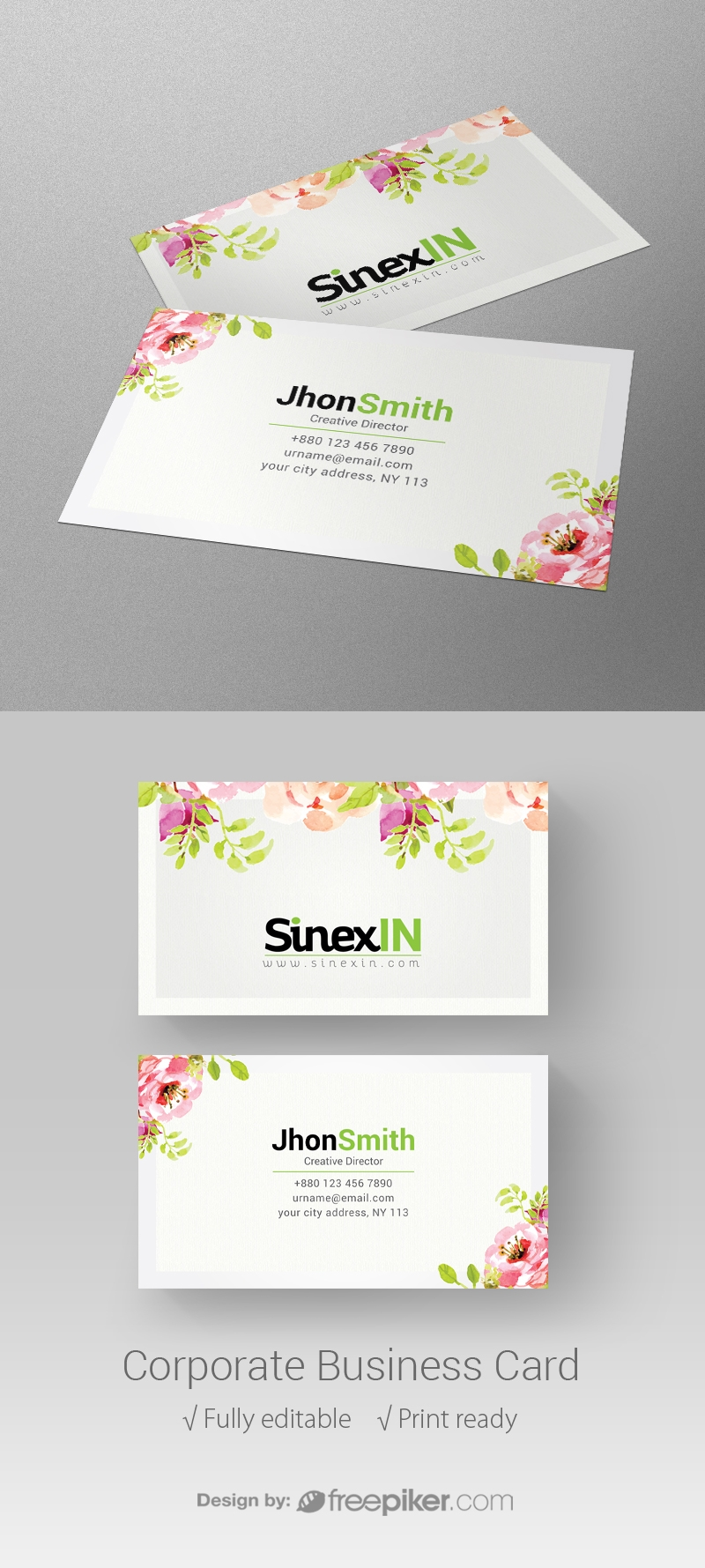 Freepiker | corporate floral business card
